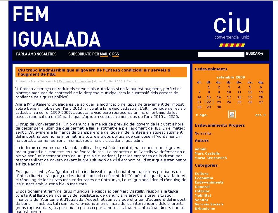 Web de CiU Igualada