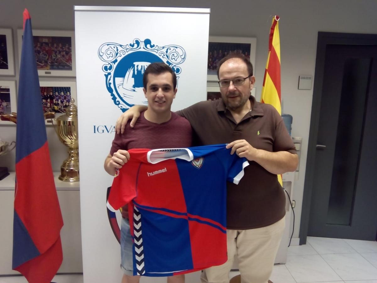 Manel del Valle, amb el president Burón