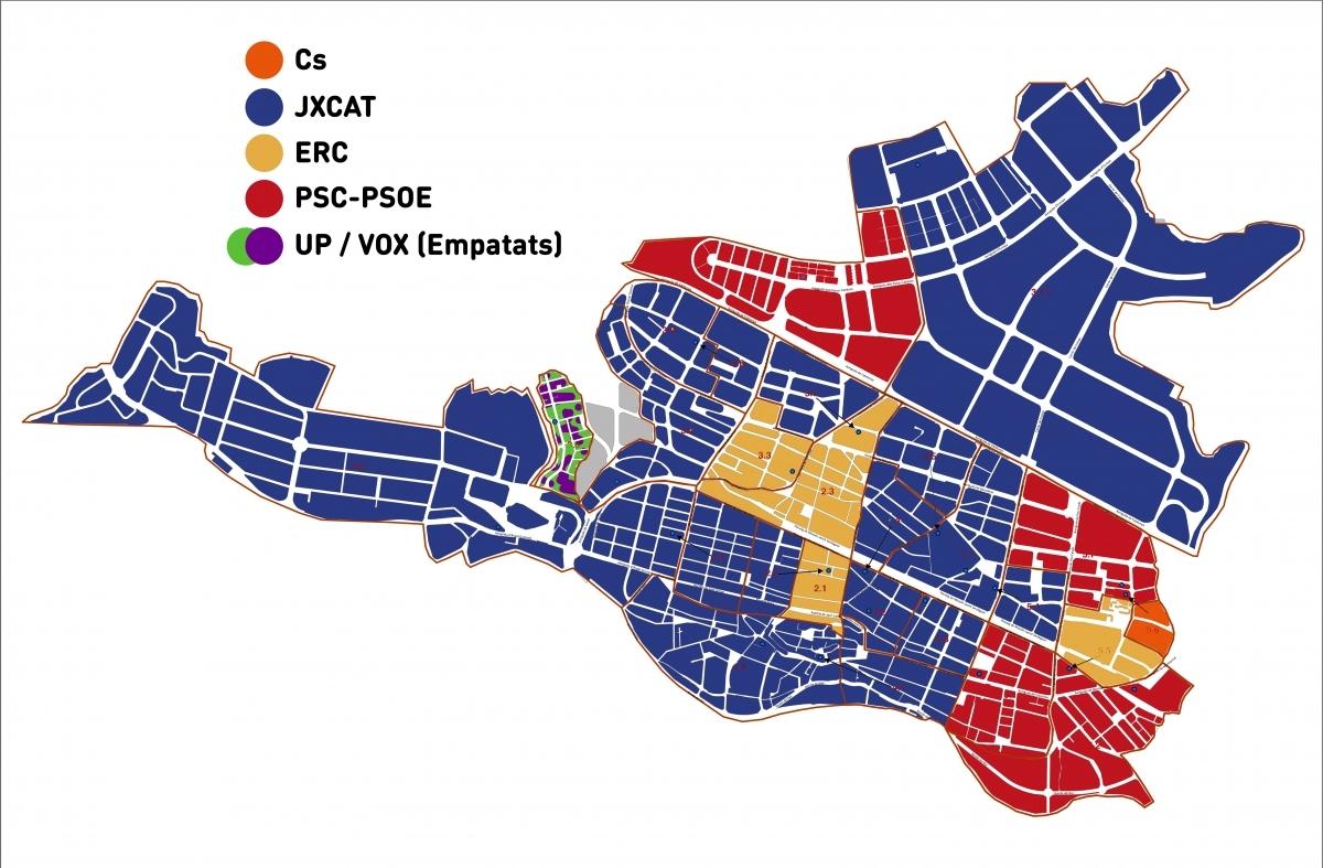 El mapa de segones forces en cada col·legi