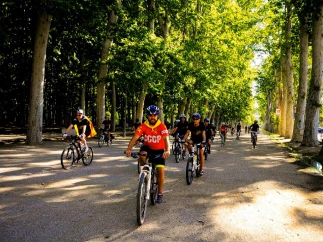 La pedalada per la Independència en la seva sortida a Girona, el passat 1 d'Agost