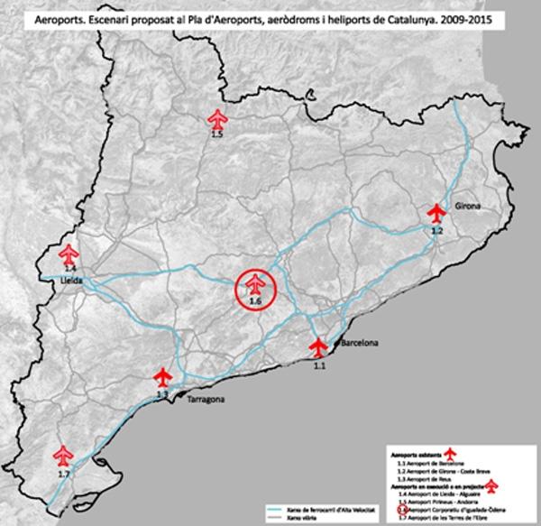 Mapa dels aeroports catalans, amb el corporatiu inclòs.