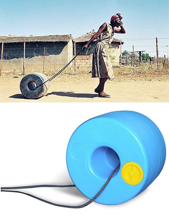 Q-Drum, dipòsit per transportar aigua a llargues distàncies. Disseny de Piet Hendrikse.