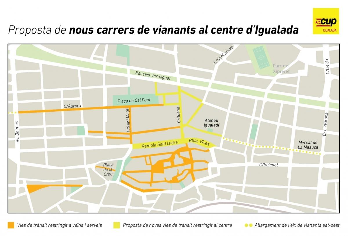 La proposta cupaire, amb les noves zones de vianants marcades en groc