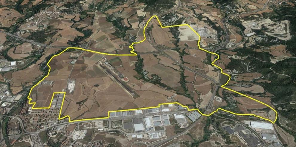 La zona de l'aèrodrom fins a la C-37, tal com està dibuixava a l'esbós de participació