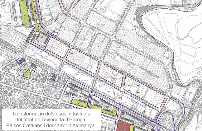 Mapa de l'Avinguda Catalunya, al POUM