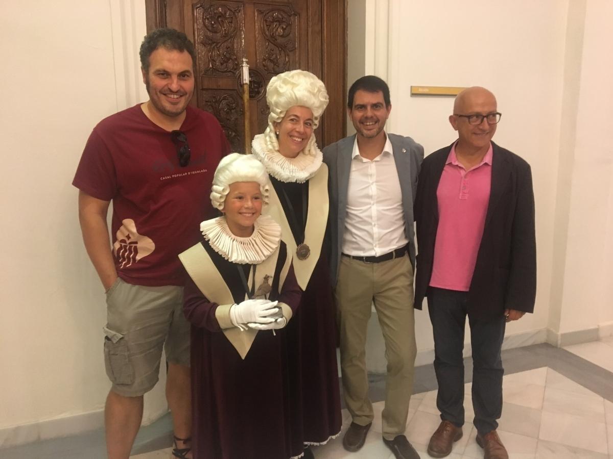 Pere Camps, a la dreta, al costat de Marc Castells, el Salero i la Salereta i l'Oriol Càlichs, Salero dels darrers tres anys