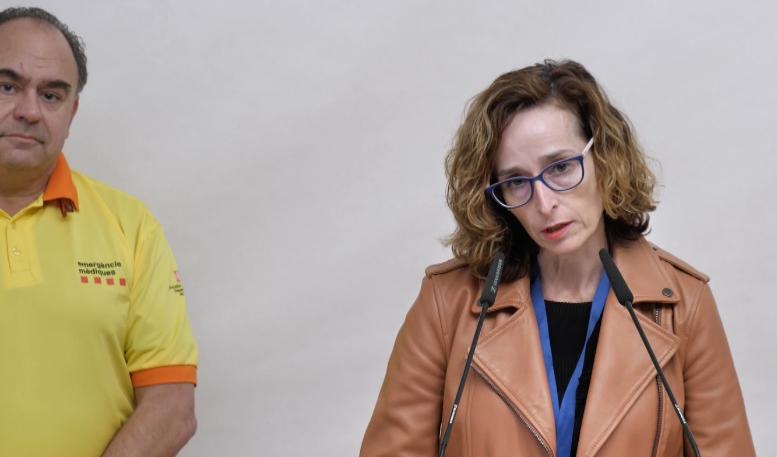 Anna Forcada, en un moment de la roda de premsa telemàtica