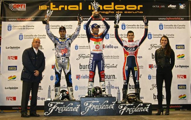 Podi final de l'indoor estatal, amb Cabestany i Fajardo (dreta) / todotrial.com
