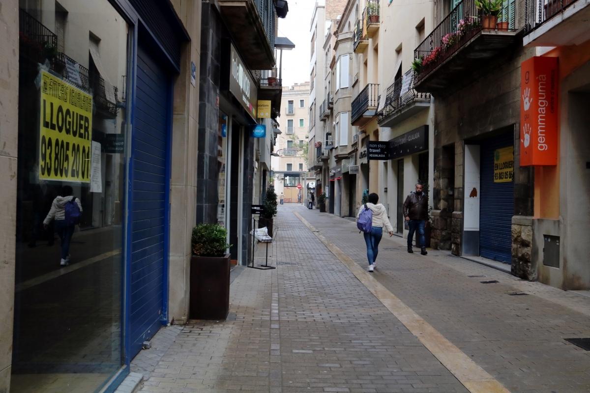 El carrer de l'Argent, una de les zones comercials per excel·lència del centre d'Igualada