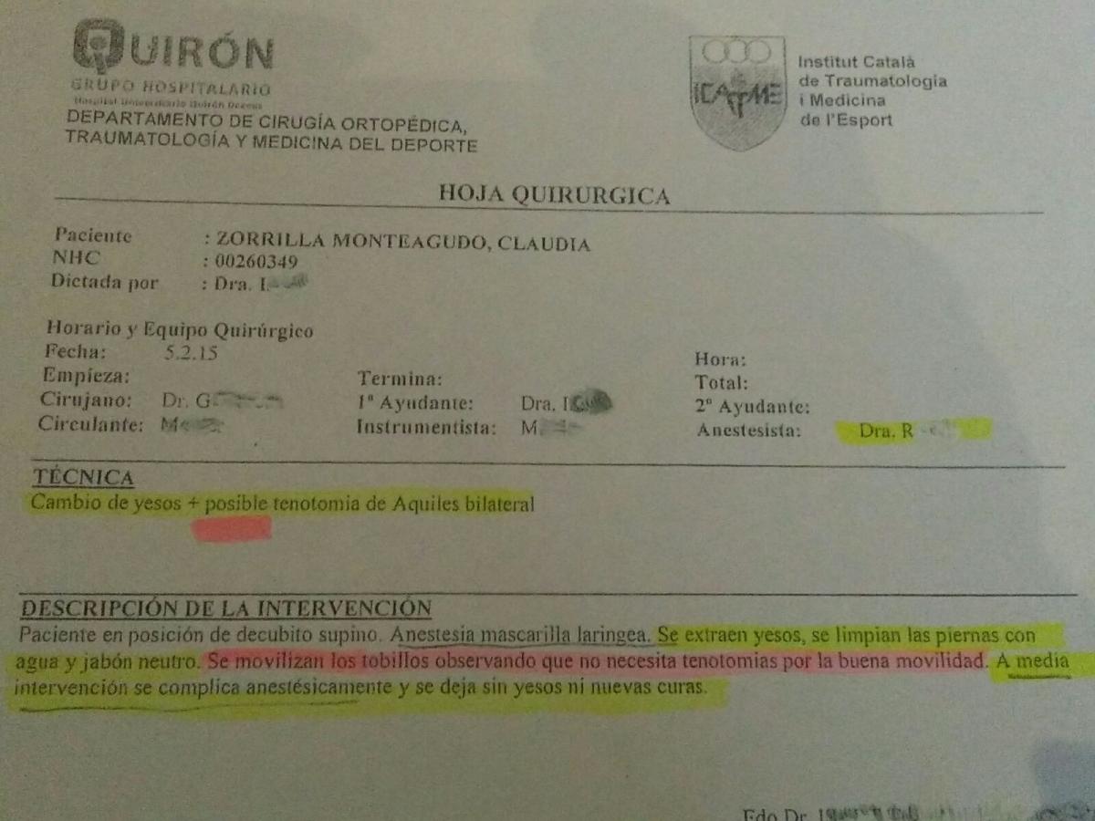 El document sobre la intervenció feta a Clàudia