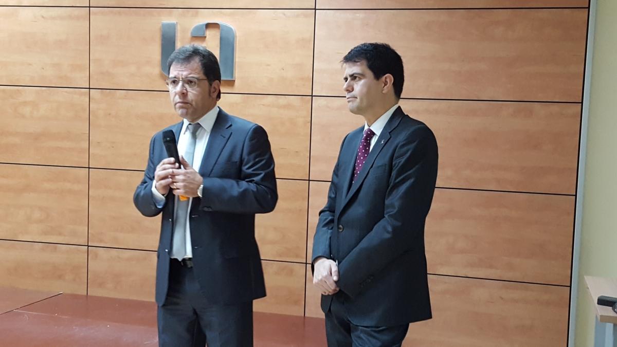 El president Blai Paco, al costat de l'alcalde Marc Castells