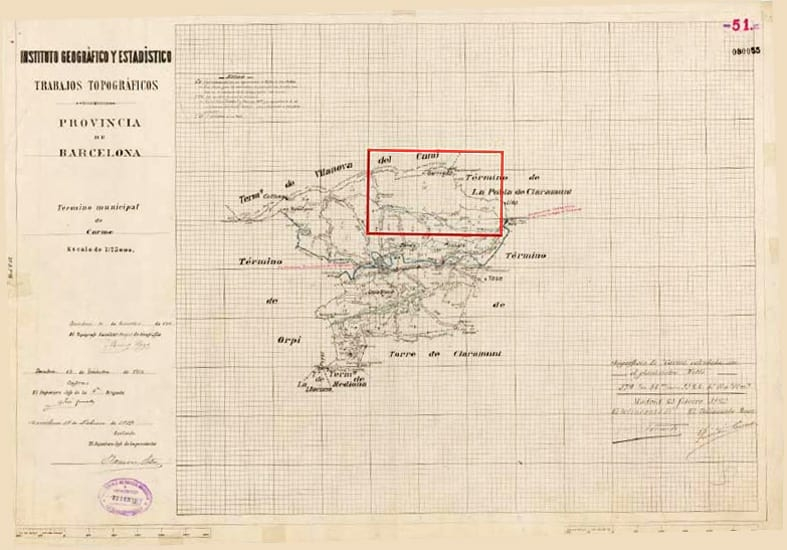 Mapa del Instituto Cartográfico y Estadístico del municipi de Carme (DIBA)