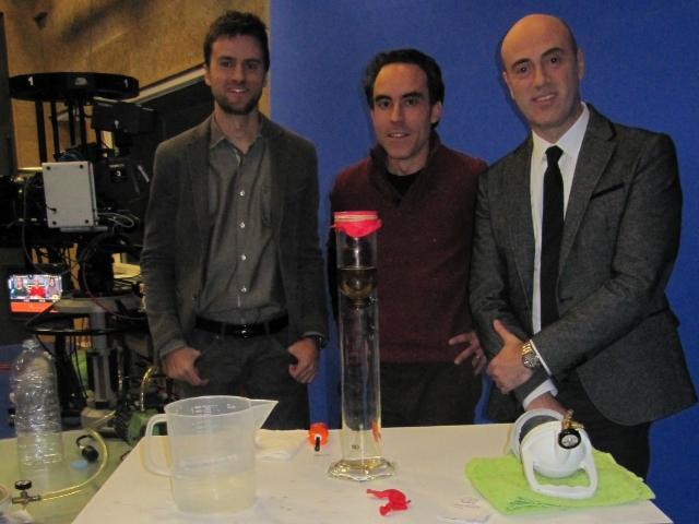 Eloi Cordomí, Albert Borràs i Tomàs Molina, al plató del programa