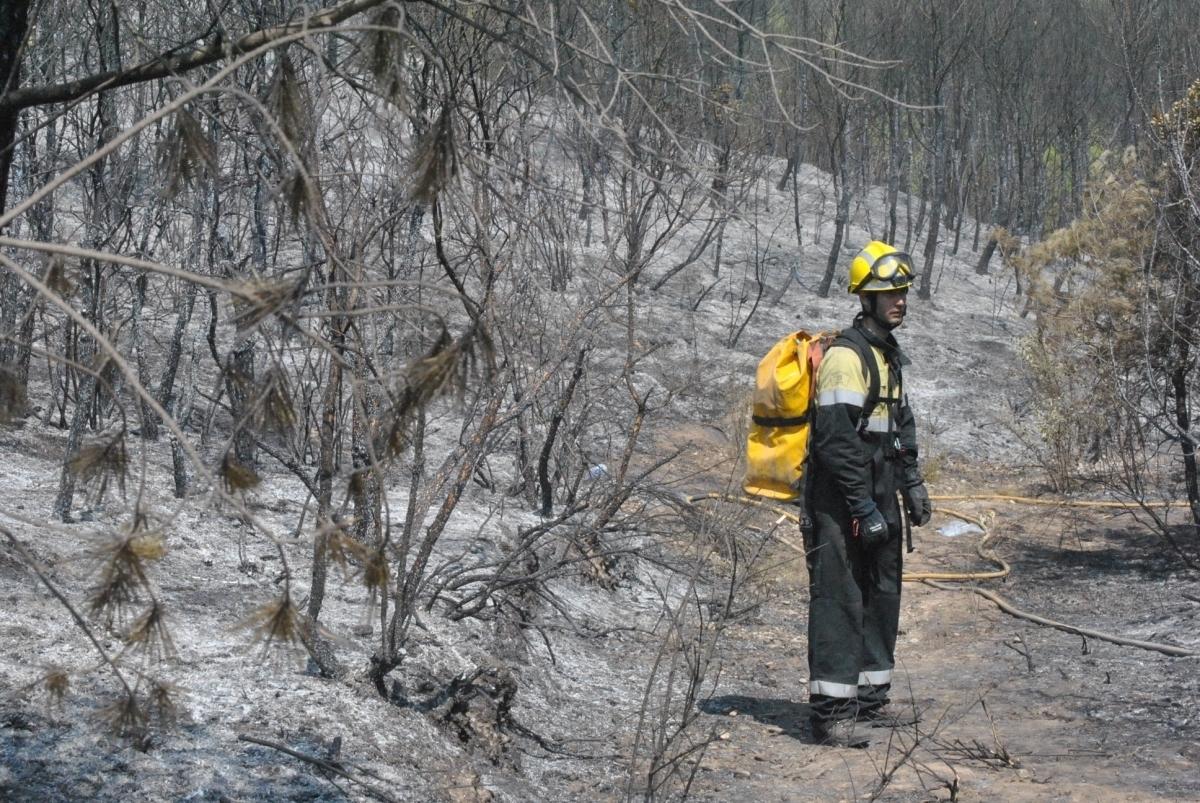 Un bomber, a la zona de Castellfollit, el matí del dia 27