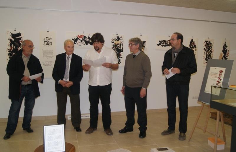 Els guanyadors, amb el president d'Amics de Tous, el regidor de Cultura i el mestre Argilés