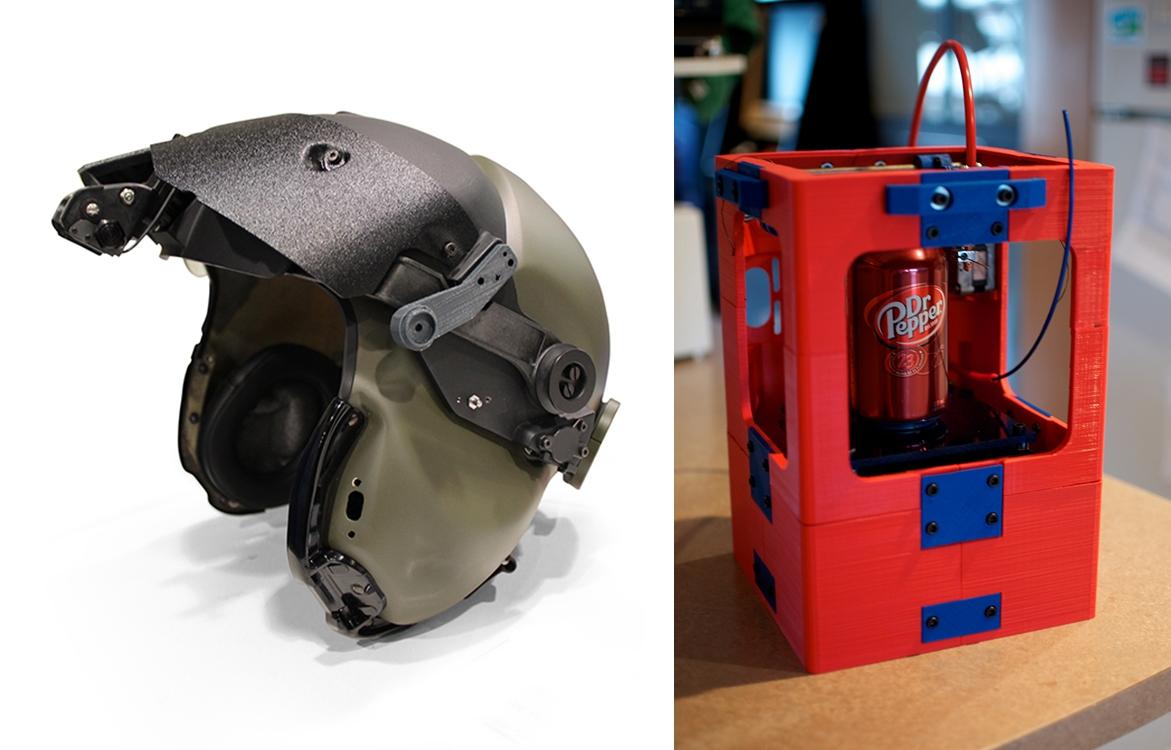 Casc de pilot imprès amb impressora 3D. Impressora que pot ser impresa per una impressora 3D.