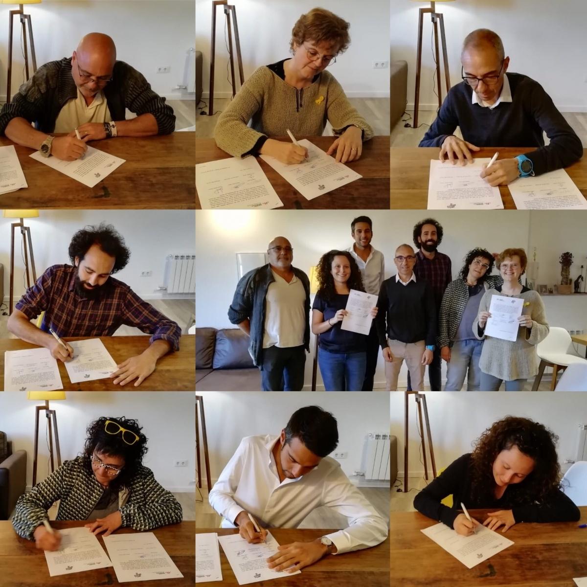 La imatge de la firma dels acords als Hostalets