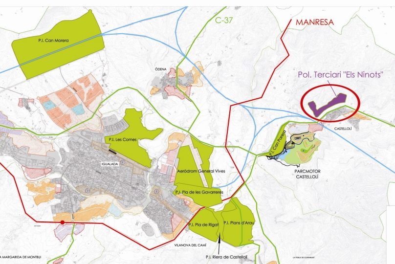 Plànol dels polígons de la Conca d'Òdena, amb la zona de Can Morera
