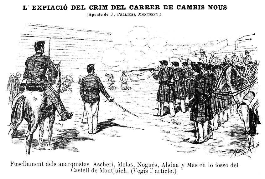 Afusellament a Montjuïc, 1897 | Font: La Campana de Gràcia (8-5-1987)