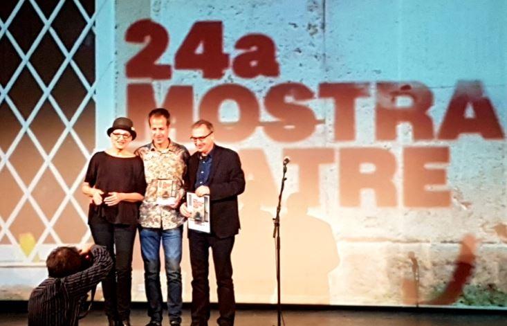 Joan Valentí, al centre, entre Lloll Bertran i David Pintó