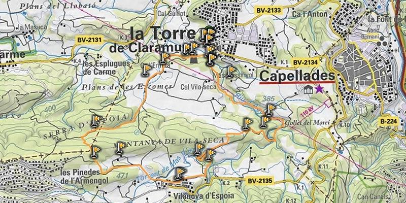 La carretera, al mapa, que uneix els nuclis capelladí i torredà
