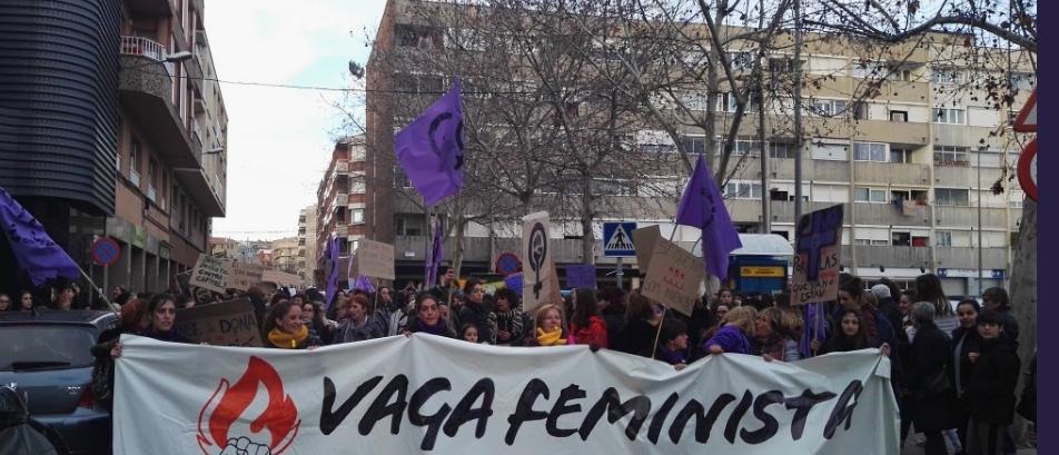 La manifestació, a la sortida de la Masuca FOTO: @Anoia_feminista