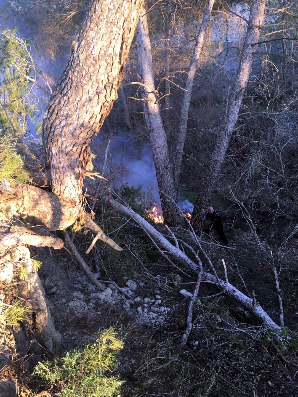 L'incendi, a la zona del bosc de Can Titó FOTO: D. Fariñas