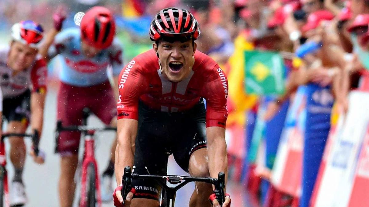 Arndt, el guanyador a Igualada, en una imatge de RTVE de l'arribada