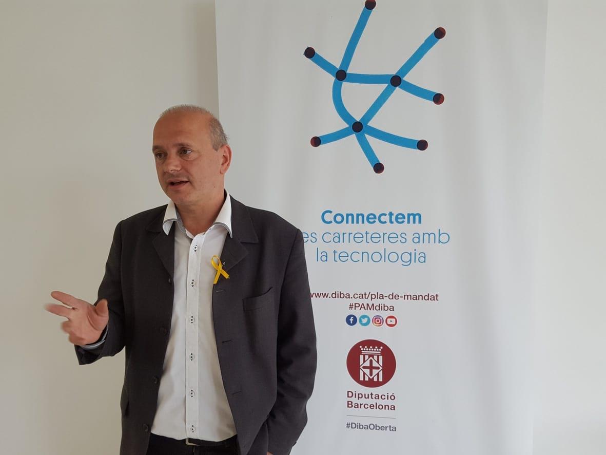 Jordi Fàbrega, en la seva intervenció davant els batlles al Campus Motor