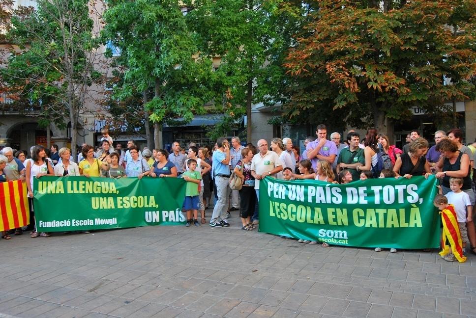 Un acte a favor de l'escola en català, del col·lectiu Som Escola