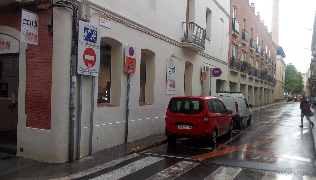 El carrer Galícia, des del carrer Òdena