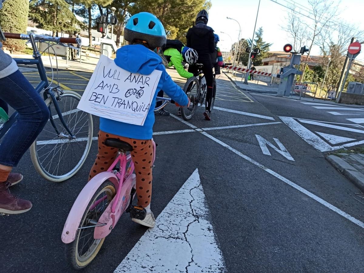 Una de les imatges de la darrera bicicletada, el 13 de febrer
