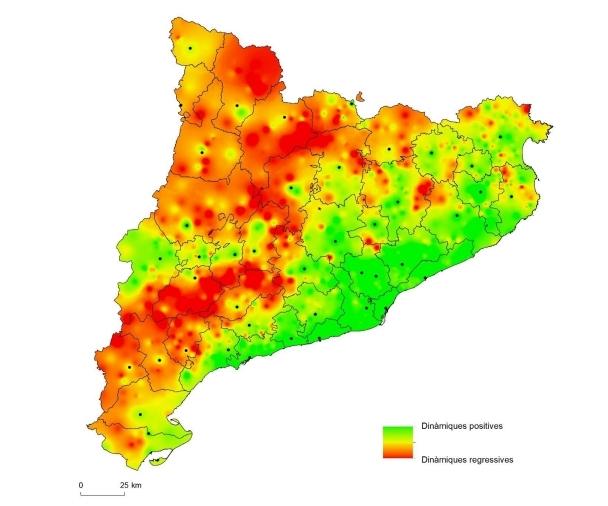 Les zones de Catalunya amb dinàmiques regressives, en vermell FONT: UdL