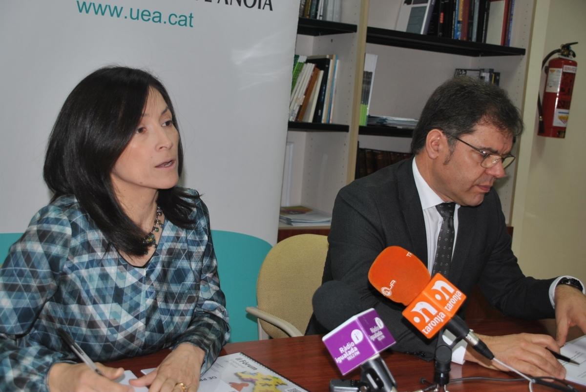 Paula Arias, secretària general, i Blai Paco, president, en la presentació del Fòrum
