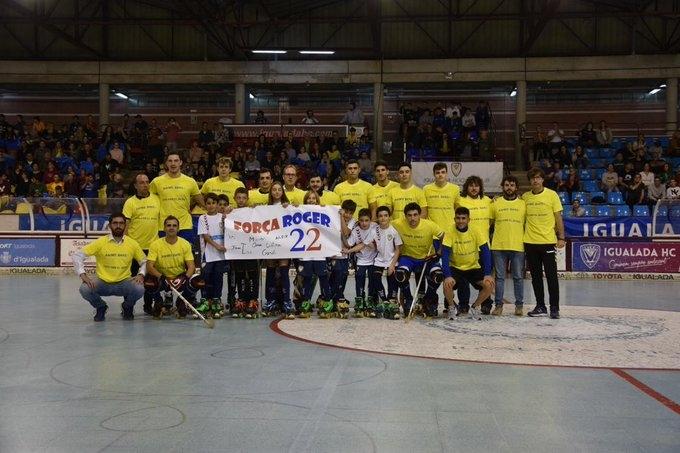 L'equip va mostrar el seu suport al Roger Vives, lesionat