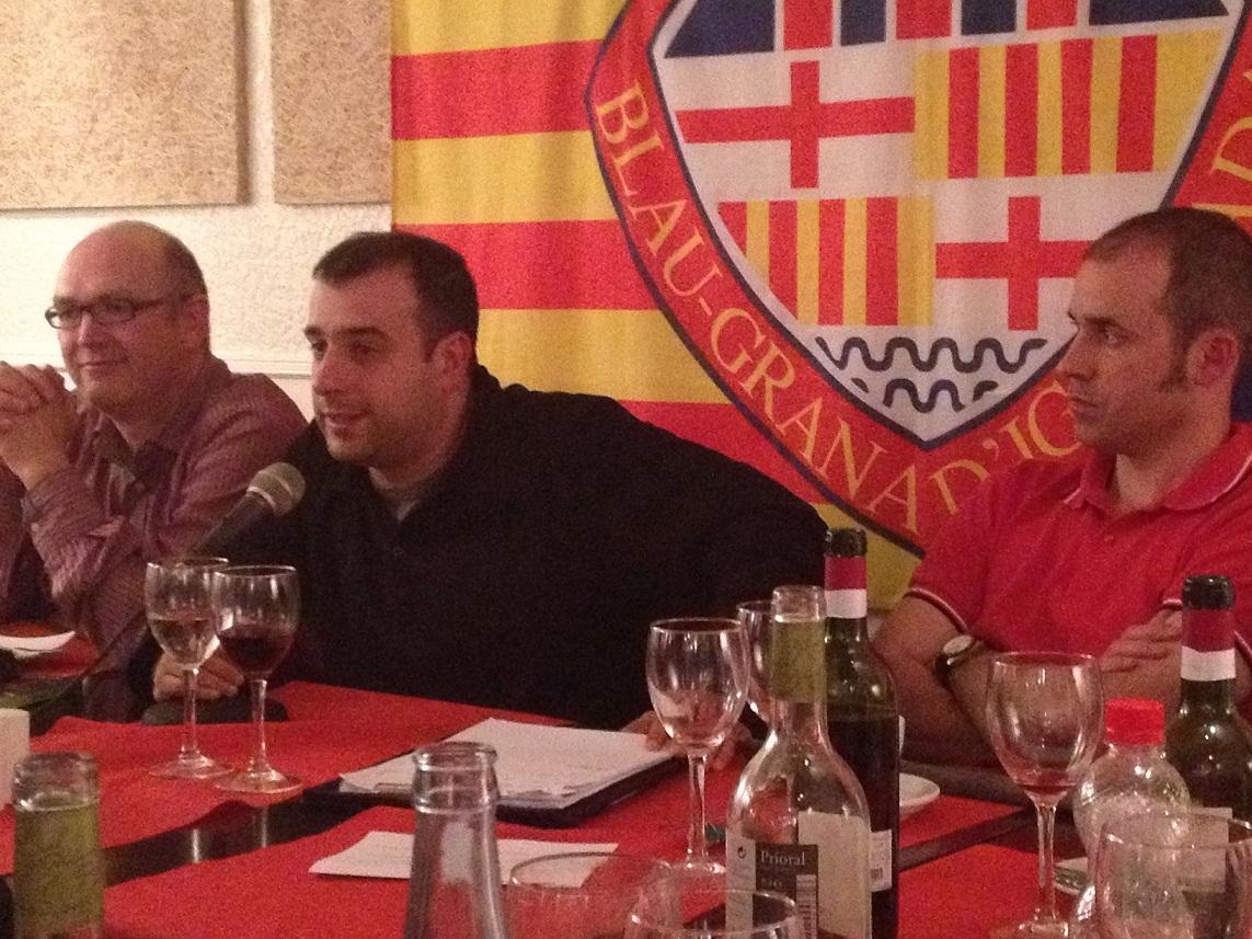 Torquemada amb Toni Claramunt (dreta) i Jordi Quintana (esquerra) qui va conduir el col·loqui