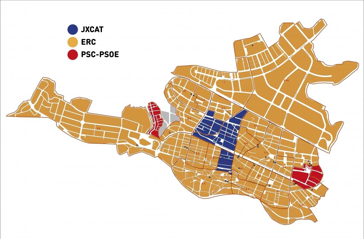 ERC continua com a primera força a tots els districtes menys sis