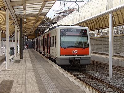 La línia Llobregat-Anoia, a l'estació d'Igualada