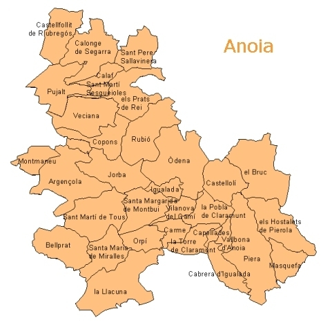 Mapa de l'Anoia