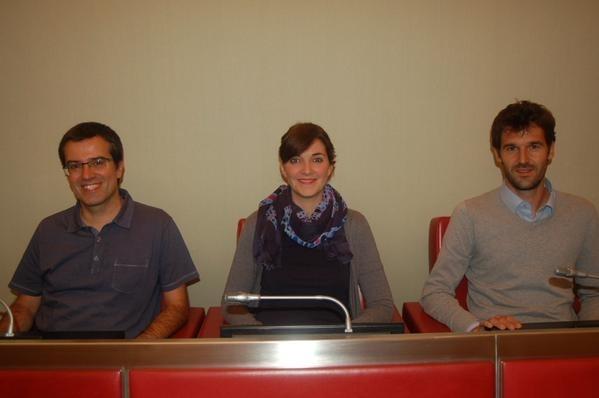 Els tres regidors d'ERC, al Saló de Sessions