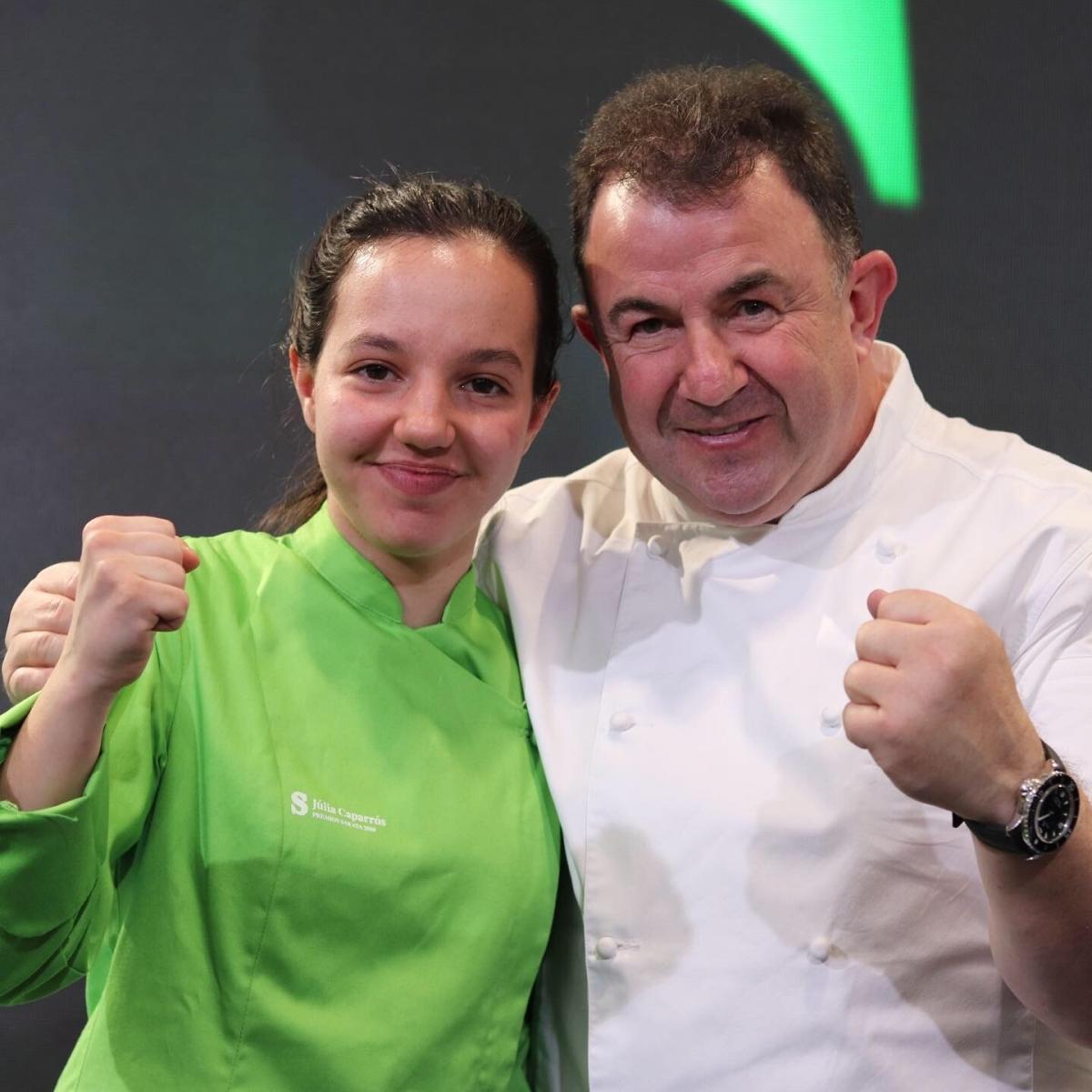 La jove cuinera igualadina, amb el xef Martín Berasategui