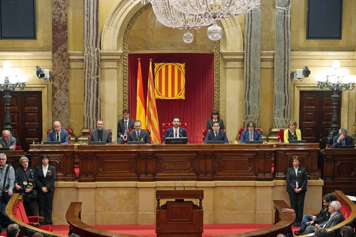 La Mesa actual del Parlament, en la jornada de la seva constitució