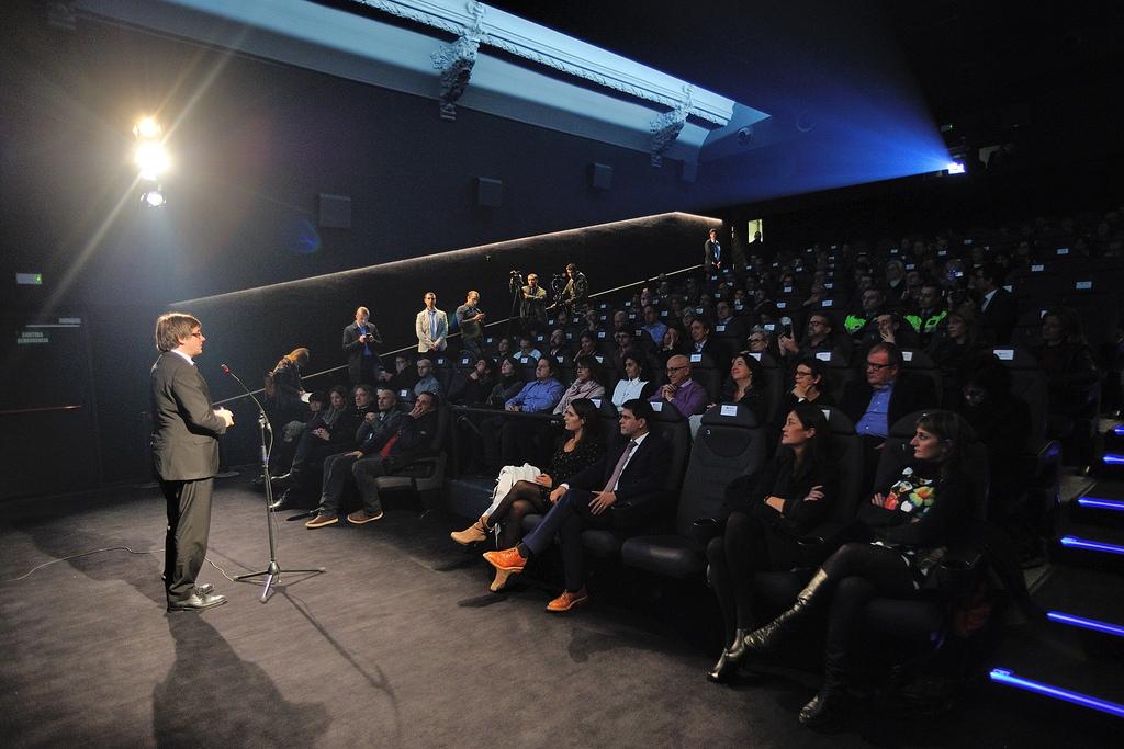Puigdemont va dirigir un discurs als assistents a l'acte d'inauguració.