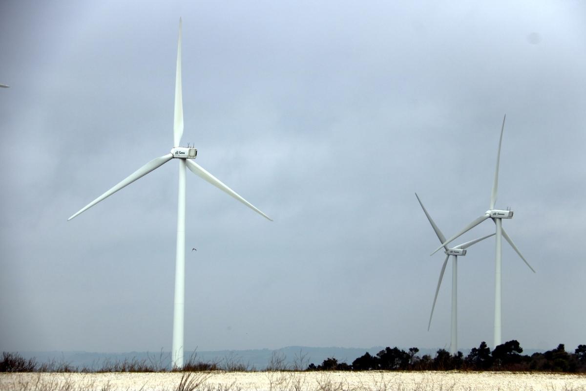 Els aerogeneradors ja existents a Talavera FOTO: ACN