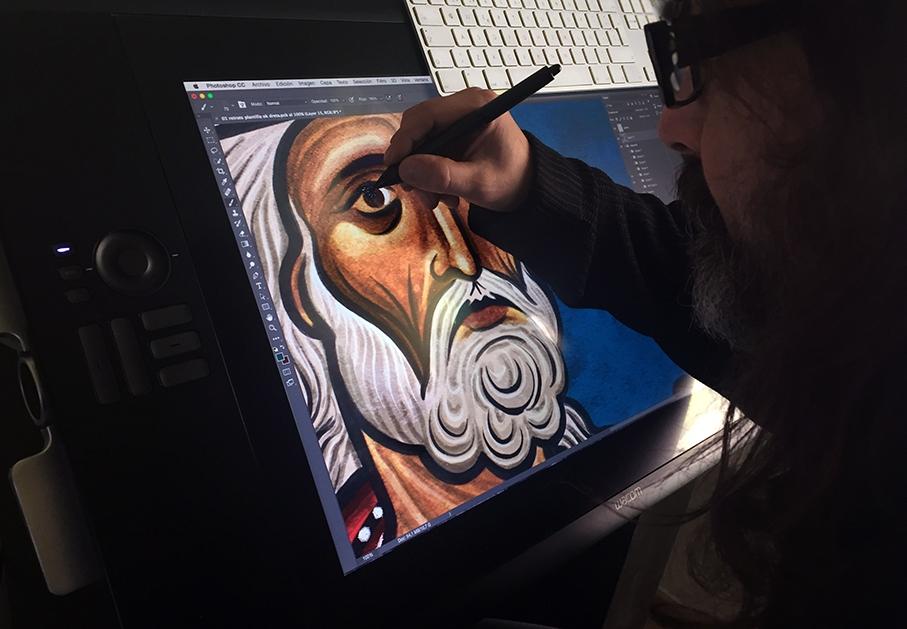Albert Burzon treballant en el projecte