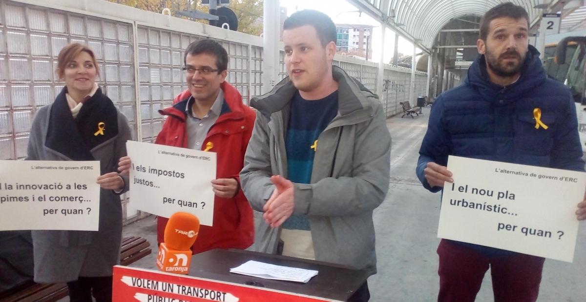 David Prat, acompanyat dels regidors d'ERC a Igualada