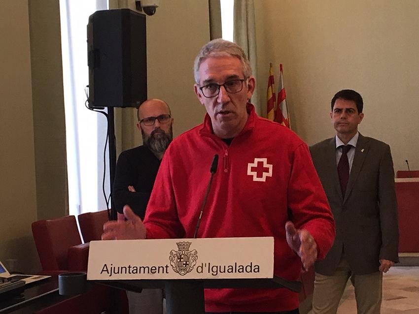 El coordinador de Creu Roja Catalunya, a la compareixença diària que es fa des de l'Ajuntament d'Igualada