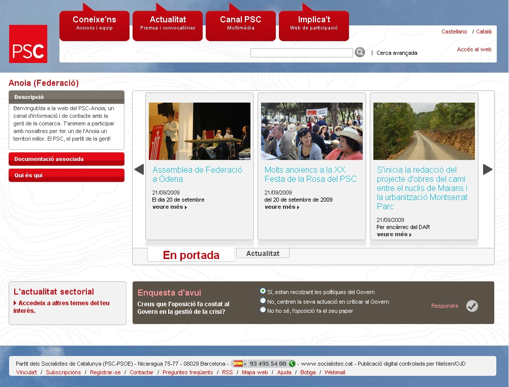 Web del PSC Anoia